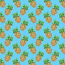 Watercolor Pineapples on Tropical Blue by TimorousEclectc