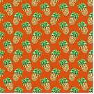 Watercolor Pineapples on Retro Orange by TimorousEclectc