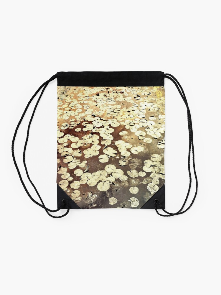 Alternate view of Golden Lily Pads - Art Photography - Nature Decor Drawstring Bag