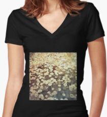 Golden Lily Pads - Art Photography - Nature Decor Women's Fitted V-Neck T-Shirt