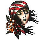 Traditional Pirate Lady Face Tattoo Design by FOREVER TRUE TATTOO