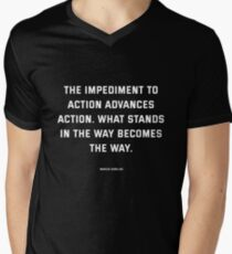 Stoic Quote Marcus Aurelius - What stands in the way becomes the way V-Neck T-Shirt