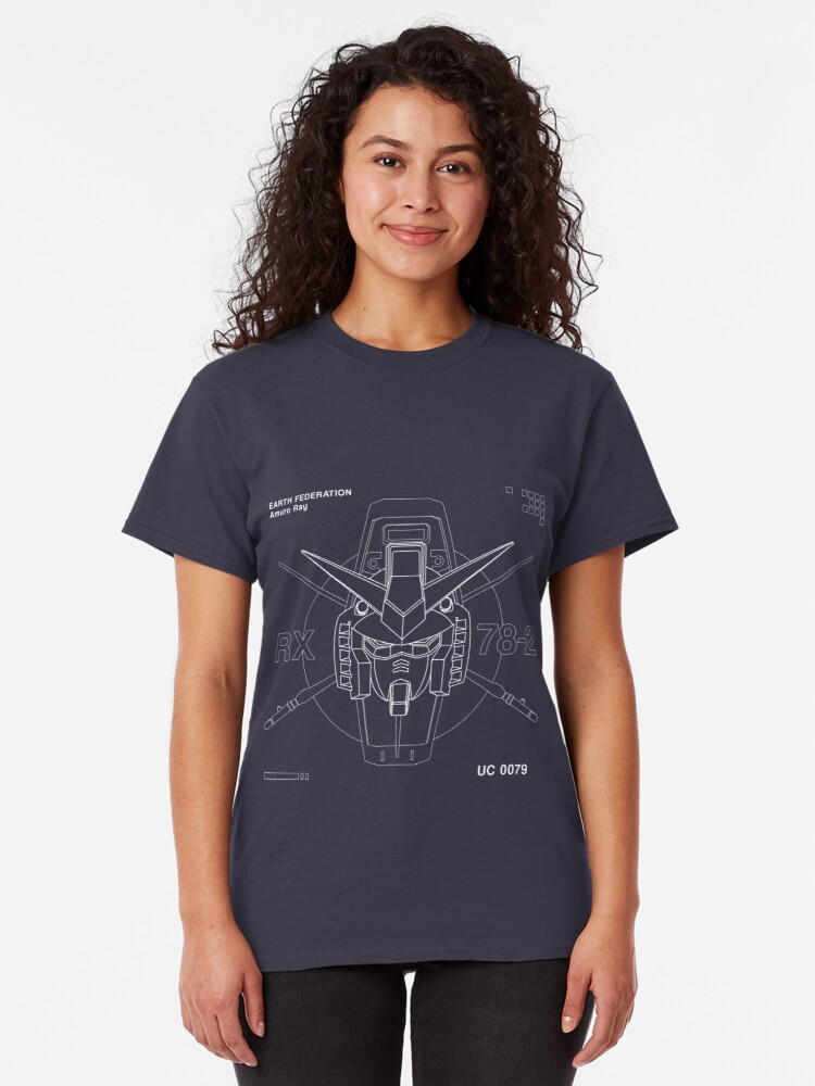 Vista alternativa de Camiseta clásica Gundam RX 78-2 Monoline