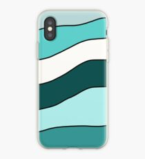 Turquoise And White Wavy Stripes iPhone Case