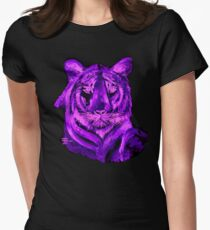 Purple tiger T SHIRT/STICKER Womens Fitted T-Shirt