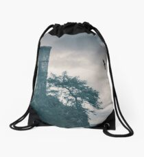 """""""The Tower Of Kinnoull Hill"""" by Cat Burton Drawstring Bag"""