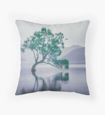 """""""The Tree In The Lake"""" by Cat Burton Throw Pillow"""