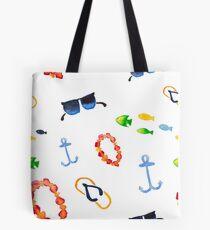 Watercolor sea summer. Flip flop sandals, sunglasses, fish Tote Bag