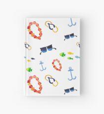 Watercolor sea summer. Flip flop sandals, sunglasses, fish Hardcover Journal