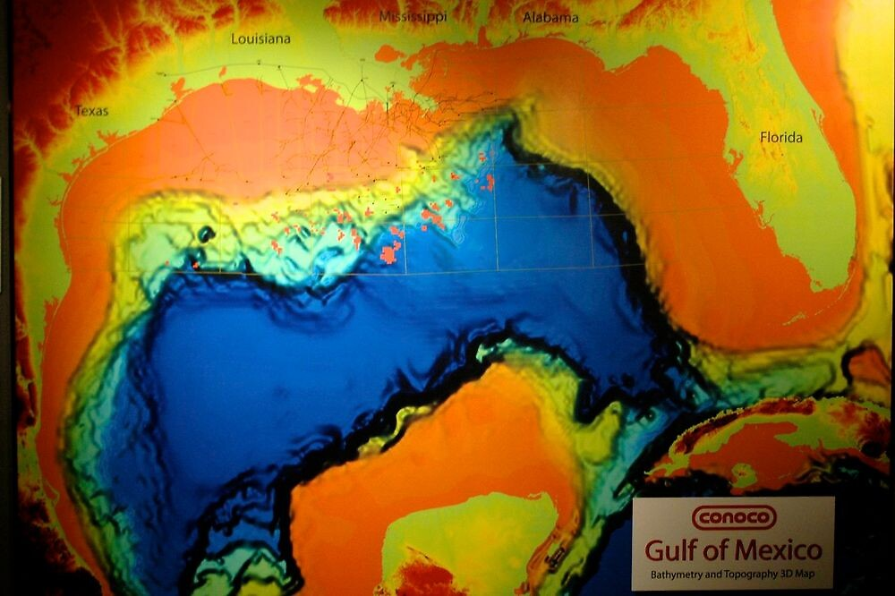 Bathymetry and Topography 3D map of the Gulf of Mexico by Ann Reece