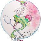 Blooming Rose Tea Dragon - sticker by GwenPhifer