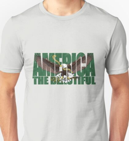 090-922 America the Beautiful with an American Bald Eagle-Green T-Shirt