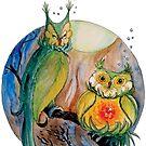 Blooming Tea... Owls? - sticker by GwenPhifer