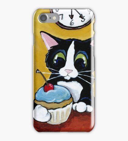 Tuxedo Cat with Cherry Cupcake iPhone Case/Skin