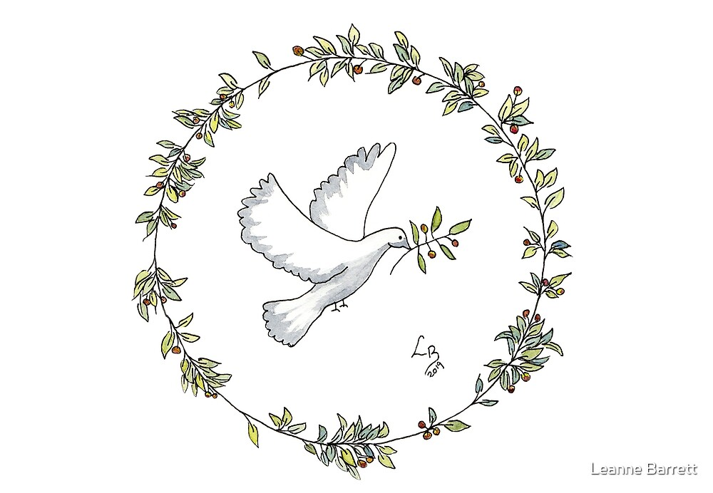 Hope a Olive Leaf Wreath with Dove by Leanne Barrett