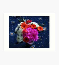 Lebendige rosa Blumen für Muttertag Kunstdruck