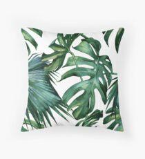 Klassischer grüner tropischer Monstera-Dschungel-Palmblatt-Druck Kissen