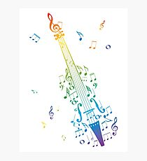 Violin with Notes 3 Photographic Print