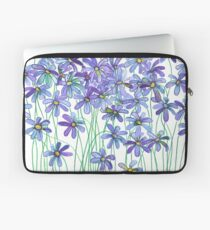 Purple Daisies in Watercolor & Colored Pencil  Laptop Sleeve
