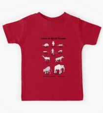Learn to Speak Ciyawo (white animals, black text) Kids Tee