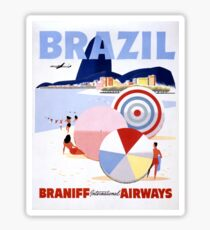 Brazil Vintage Travel Poster Restored Sticker