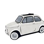 Fiat 500 Stencil Painting - White  by Richard Yeomans
