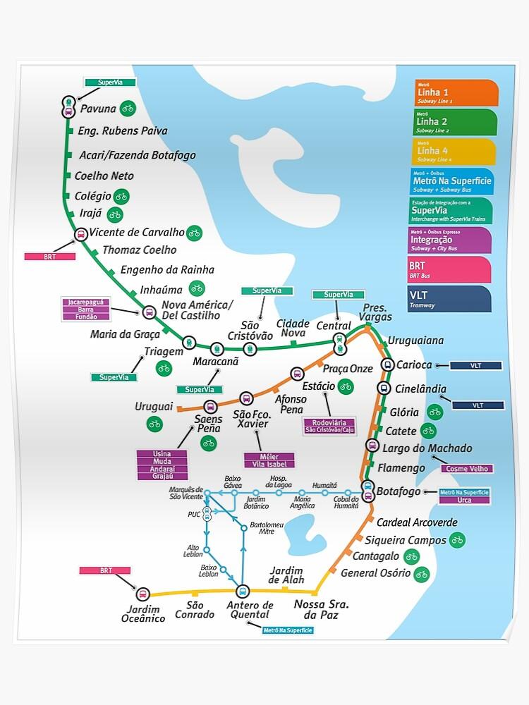 Brasilien - Rio de Janeiro - Metrô Map - HD | Poster