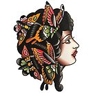 Traditional Butterfly Lady Tattoo Design by FOREVER TRUE TATTOO