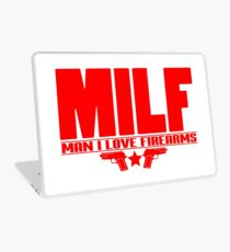 Mens Milf Man I Love Firearms design Funny Gift for Dads Laptop Skin