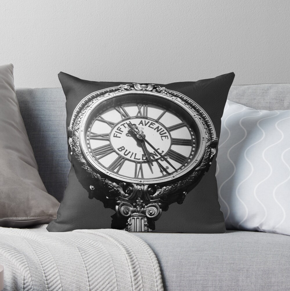 Tick Tock on 5th - Black and White Photography - New York City Art  Throw Pillow