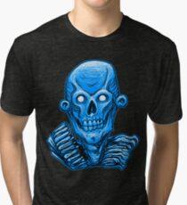 Blue Zombie Skull Head Tri-blend T-Shirt