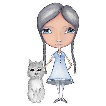 Girl and Grey Dog Watercolor by peaceofpistudio