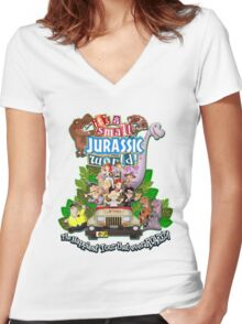 It's a Small Jurassic World (1A) Women's Fitted V-Neck T-Shirt