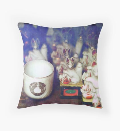Cup and Foxes Throw Pillow