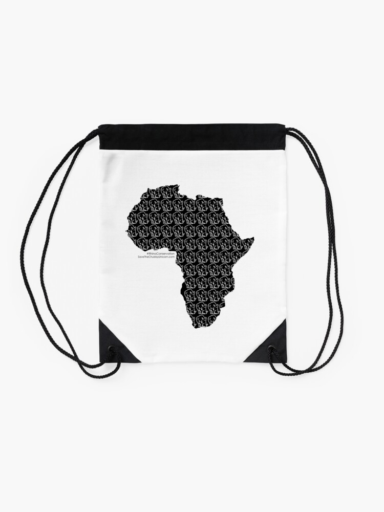 Alternate view of Save The Chubby Unicorn Africa Drawstring Bag