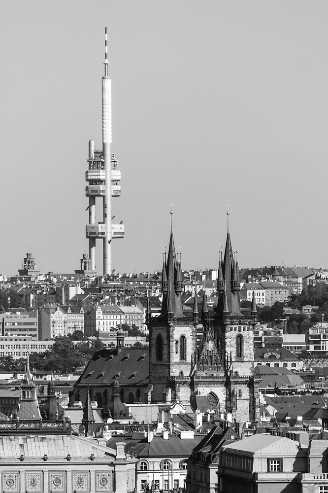Prague 014 - Black and White Cityscape with the Žižkov Television Tower by seeczechia