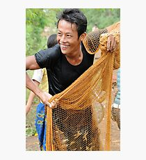 Teaching how to fish with a throw net Photographic Print