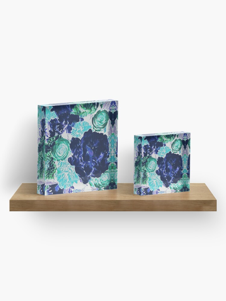 Alternate view of Bouquet in Blue - Floral Art - Flower Lovers Gift Acrylic Block