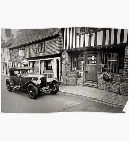 Classic Car No2: Ancient Alfriston Village, Sussex, UK. Poster