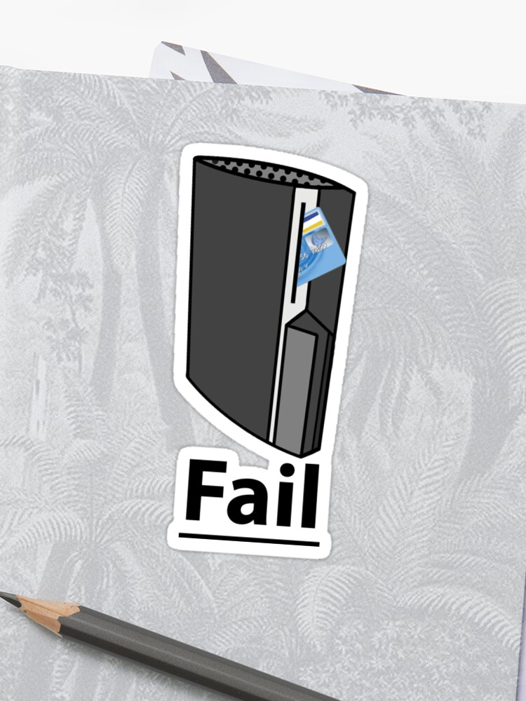 PS3 Fail, A playstation eating your credit card, comedy gamer design     Sticker