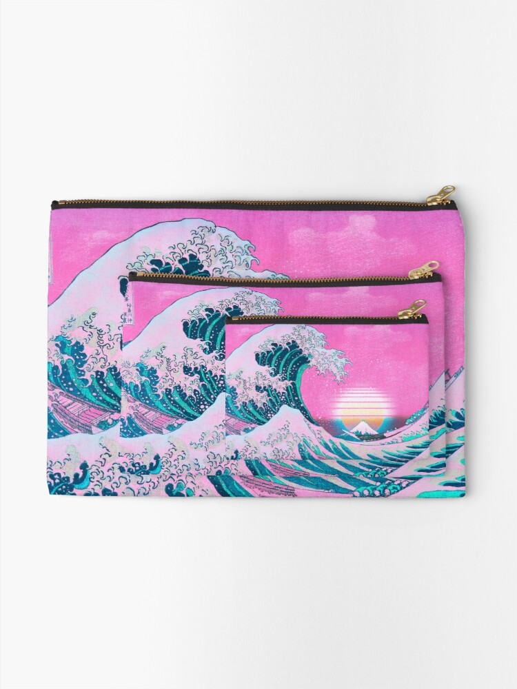Alternative Ansicht von Vaporwave Aesthetic Great Wave vor Kanagawa Täschchen