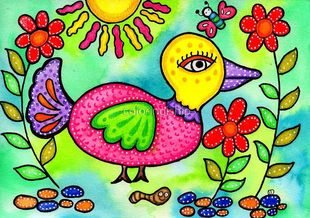 Folk Art Bird Painting by coloringiship