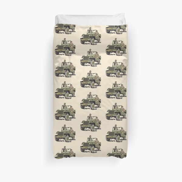 D-DAY, Rough Rider Jeep and General Ted Roosevelt  Duvet Cover