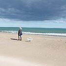 Westies at the seaside by Katherine Clarke