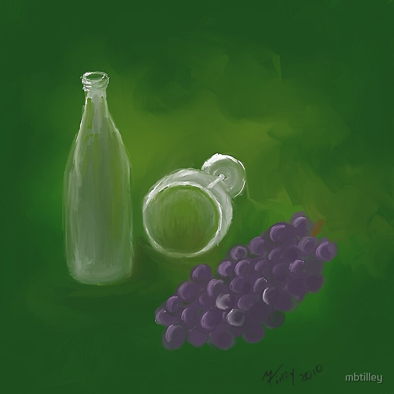 Glass of wine with Grapes by mbtilley