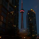 The CN Tower... a night view. by Larry Llewellyn