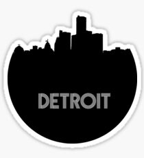 Detroit Skyline Circle Sticker