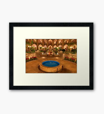The Amazing Abbasi Hotel - Blue & Gold Courtyard Fountains - Esfahan - Iran Framed Print