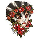 Traditional Lady Face with Roses Tattoo Design by FOREVER TRUE TATTOO