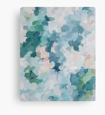 Blue, Green & Pink Abstract Art Modern Floral Spring Painting Canvas Print